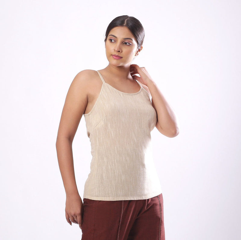 Right View of a Model wearing Solid Beige Cotton Flax Spaghetti Top