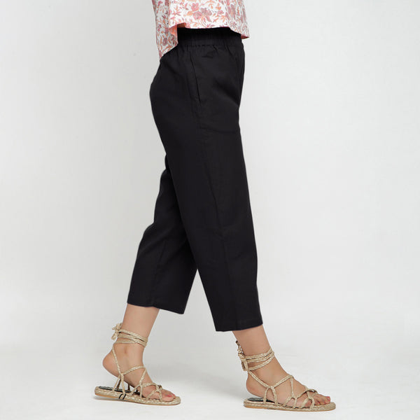 Right View of a Model wearing Solid Black Cotton Flax Culottes