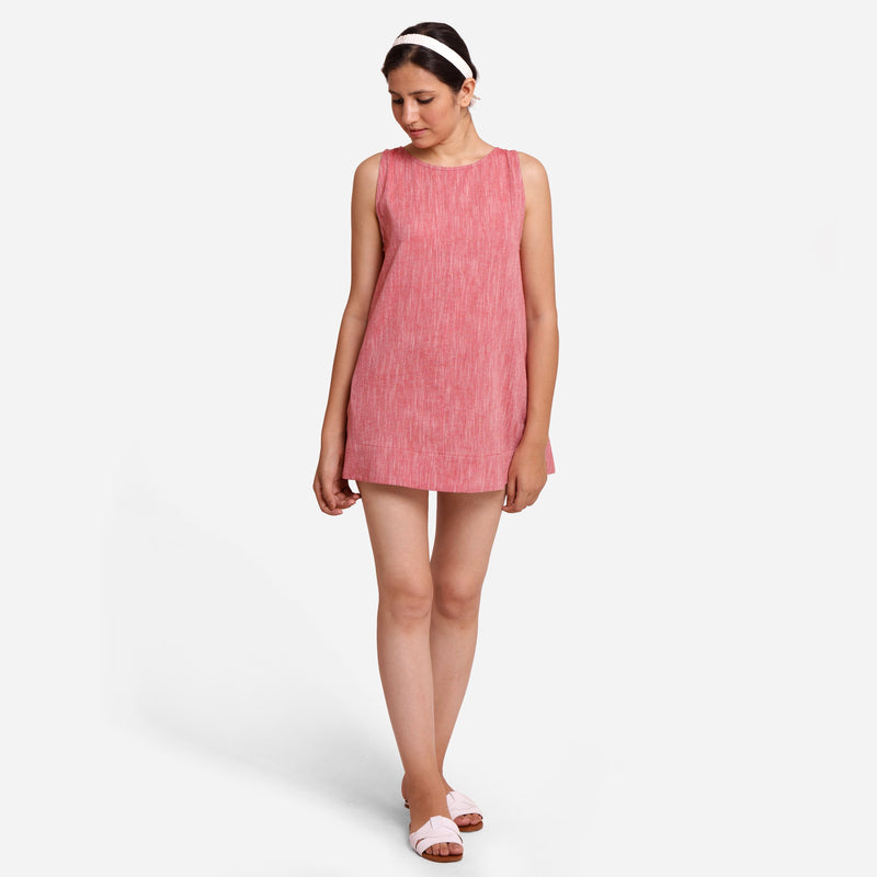 Front View of a Model wearing Solid Brick Red Mini Sleeveless Tunic