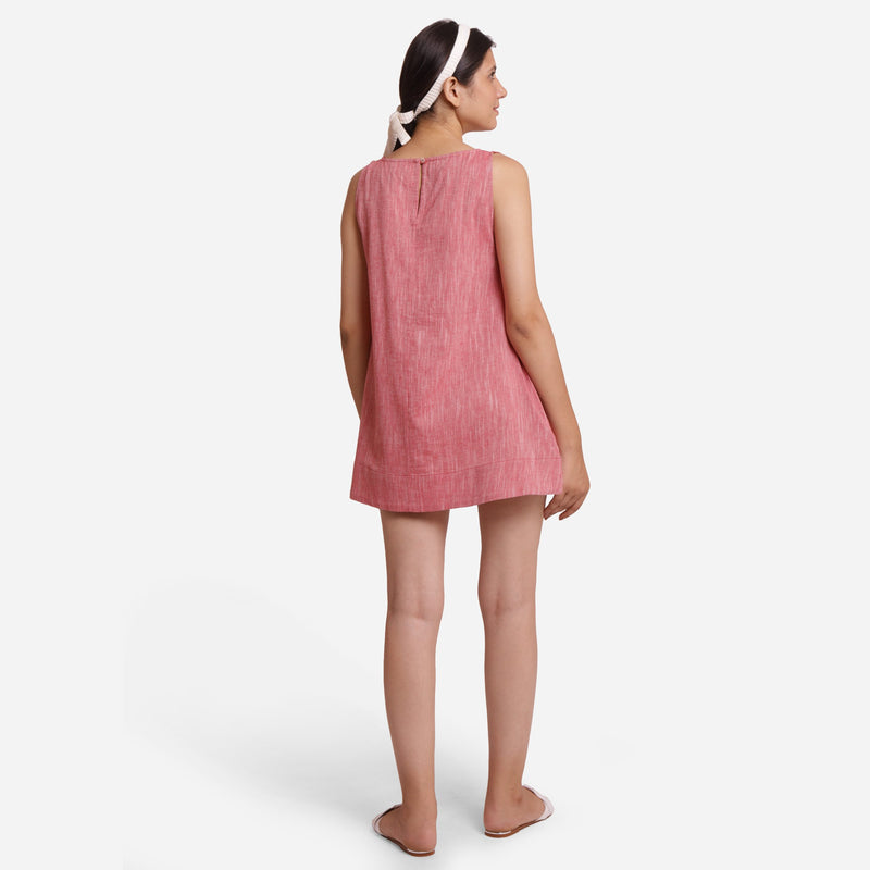 Back View of a Model wearing Solid Brick Red Mini Sleeveless Tunic