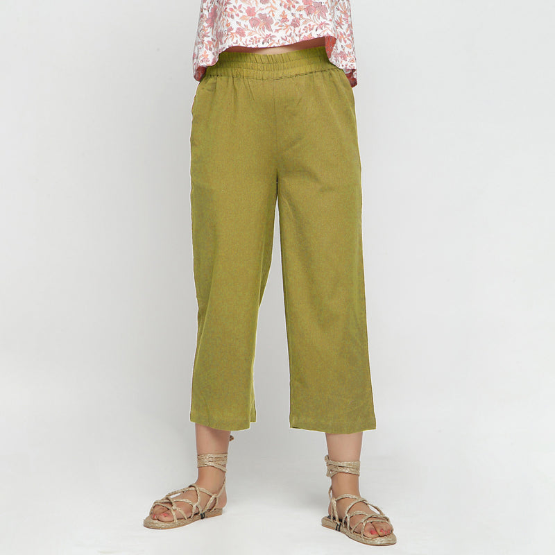 Front View of a Model wearing Solid Olive Green Cotton Flax Culottes