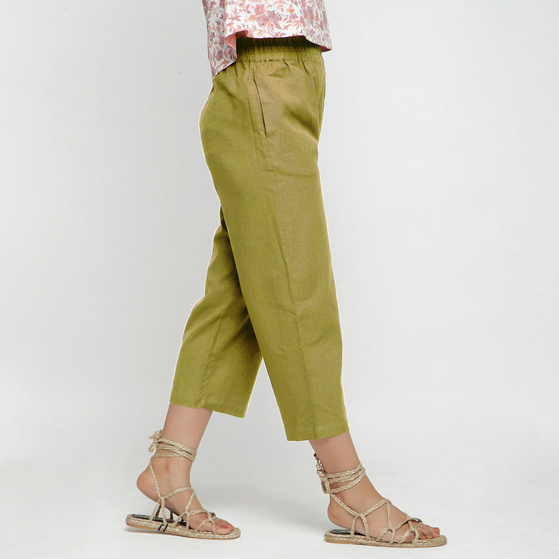 Right View of a Model wearing Solid Olive Green Cotton Flax Culottes