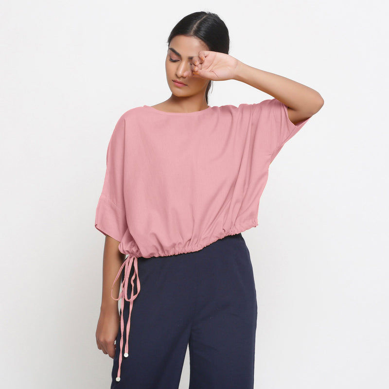 Front View of a Model wearing Solid Pink Cotton Flax Blouson Top