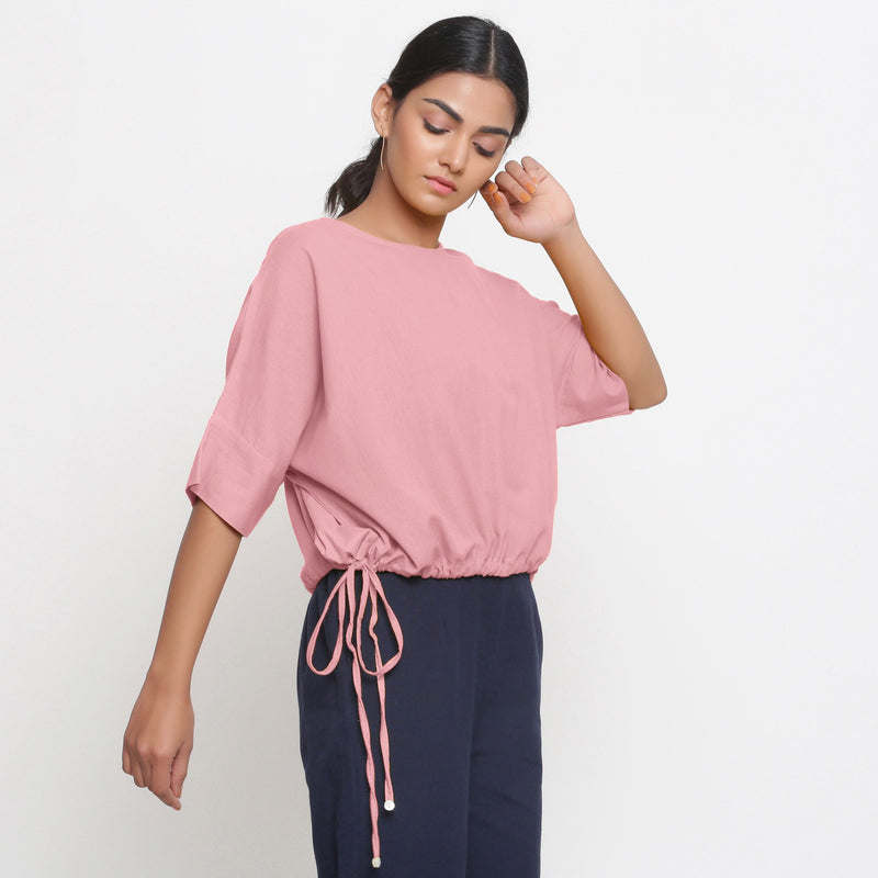 Right View of a Model wearing Solid Pink Cotton Flax Blouson Top
