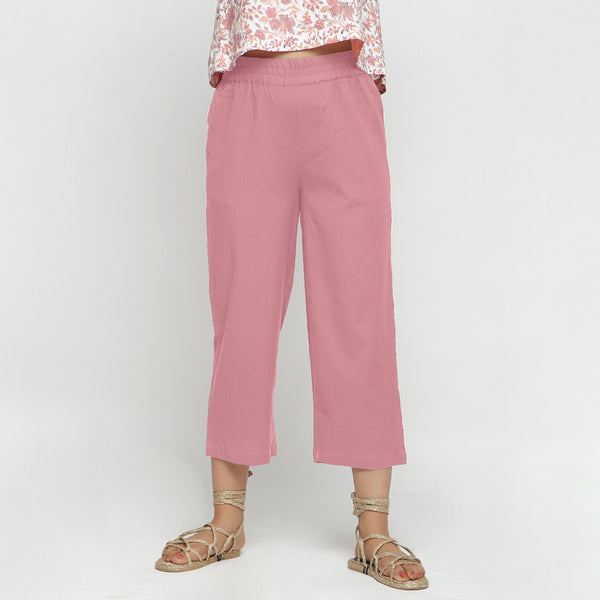 Front View of a Model wearing Solid Pink Cotton Flax Culottes