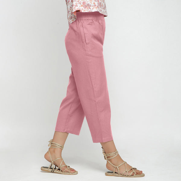 Right View of a Model wearing Solid Pink Cotton Flax Culottes
