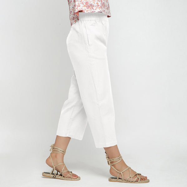 Right View of a Model wearing Solid White Cotton Flax Culottes