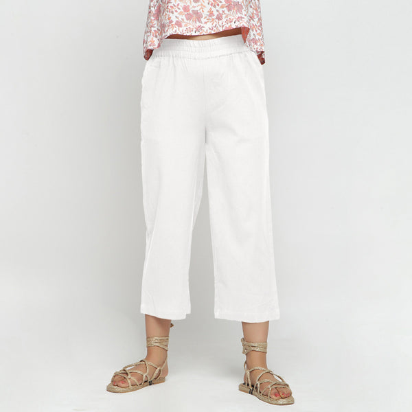 Front View of a Model wearing Solid White Cotton Flax Culottes