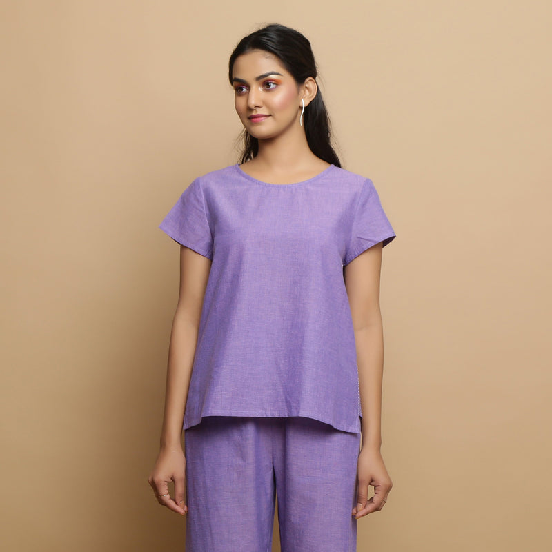 Front View of a Model wearing Lavender Mangalgiri Cotton Straight Top