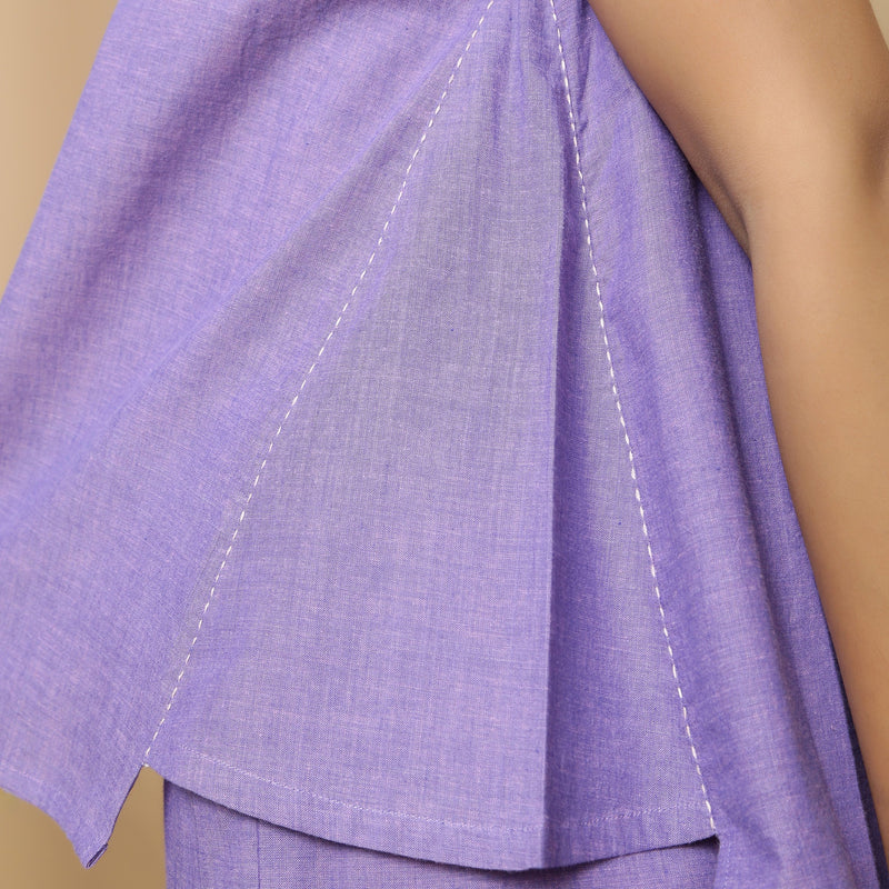 Close View of a Model wearing Lavender Mangalgiri Cotton Straight Top