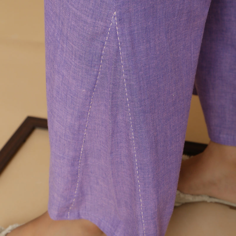 Close View of a Model wearing Lavender Aankle-Length Godet Pant