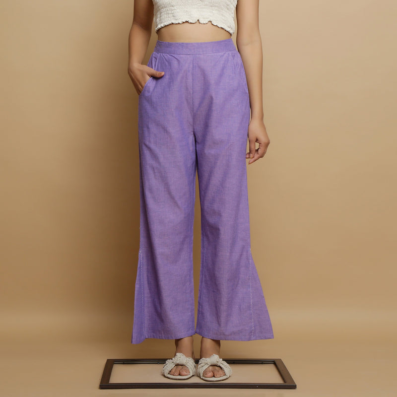 Front View of a Model wearing Lavender Aankle-Length Godet Pant