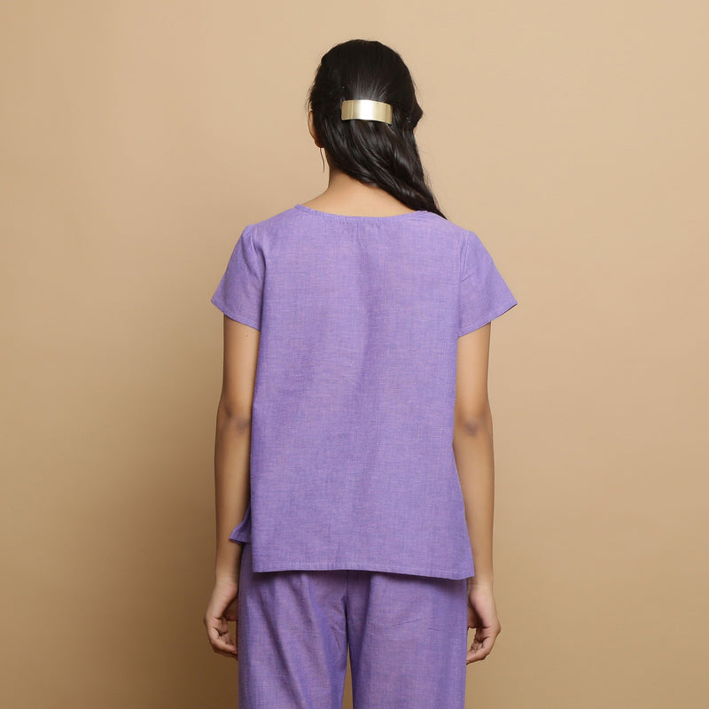 Back View of a Model wearing Lavender Mangalgiri Cotton Straight Top