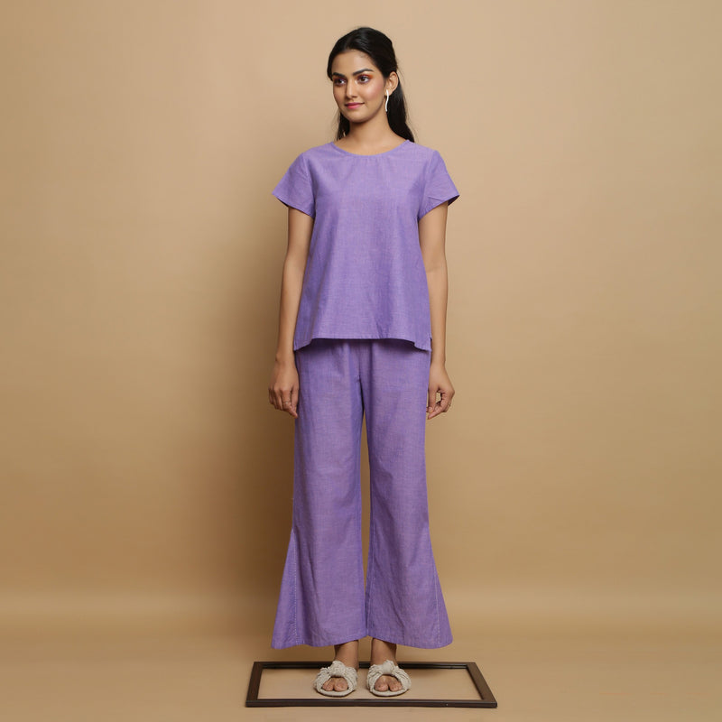 Front View of a Model wearing Lavender Mangalgiri Cotton Top and Pant Set