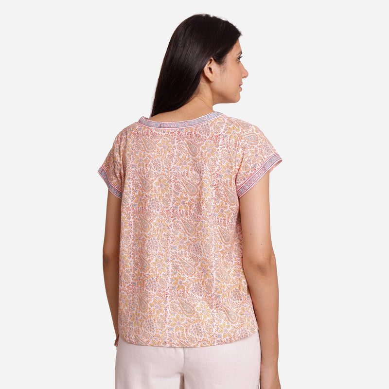 Back View of a Model wearing Straight Sanganeri Block Printed Top