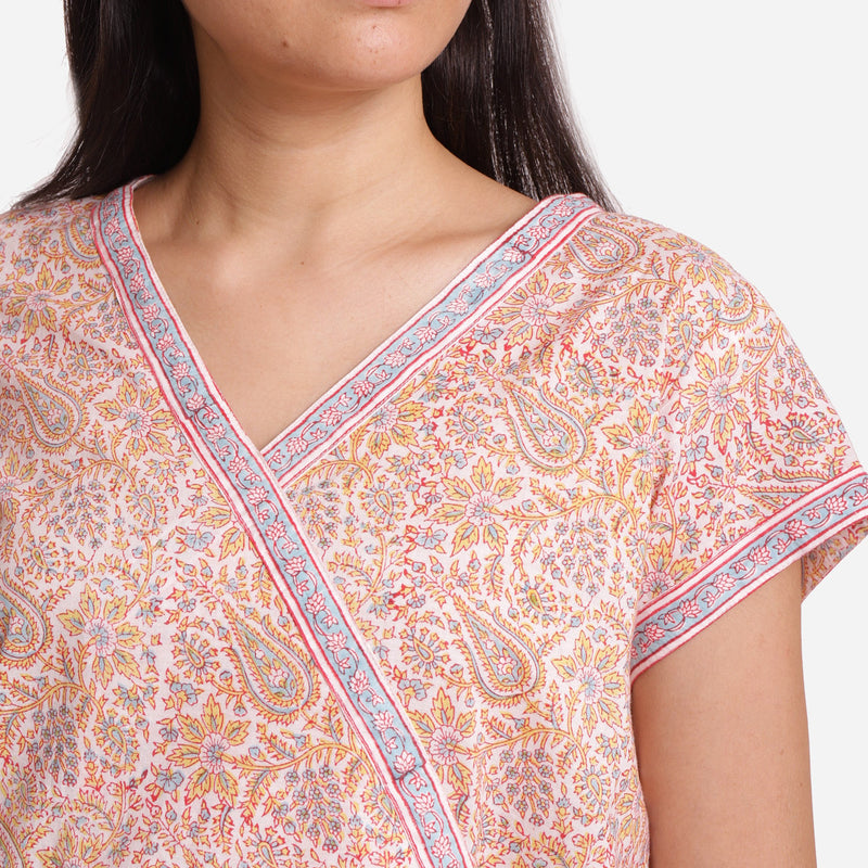 Front Detail of a Model wearing Straight Sanganeri Block Printed Top