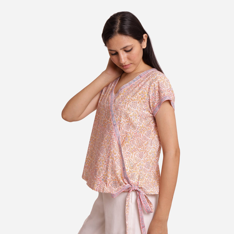 Left View of a Model wearing Straight Sanganeri Block Printed Top