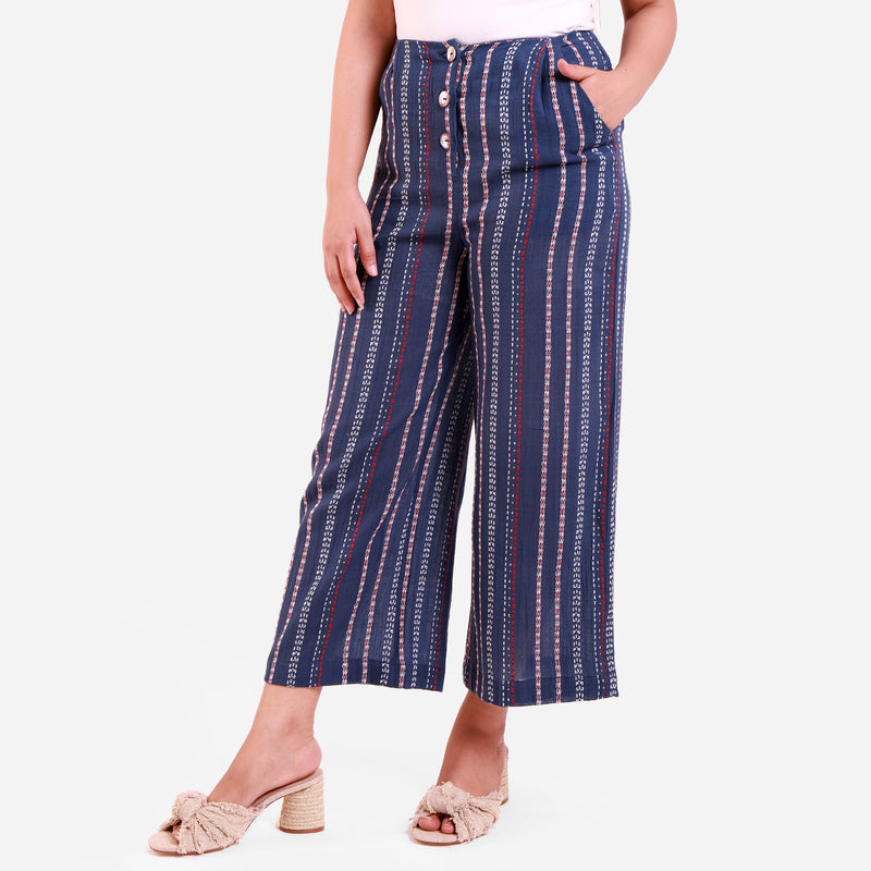 Left View of a Model wearing Navy Blue Crinkled Cotton Striped Culottes