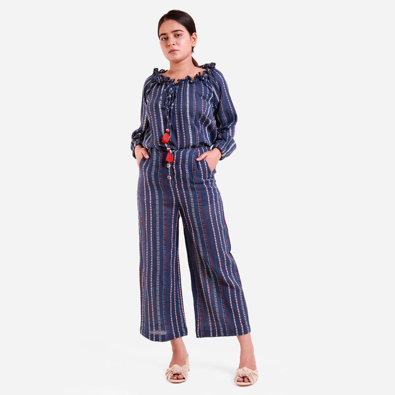 Front View of a Model wearing Navy Blue Crinkled Cotton Striped Culottes