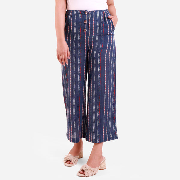 Front View of a Model wearing Straight Striped Navy Blue Culottes