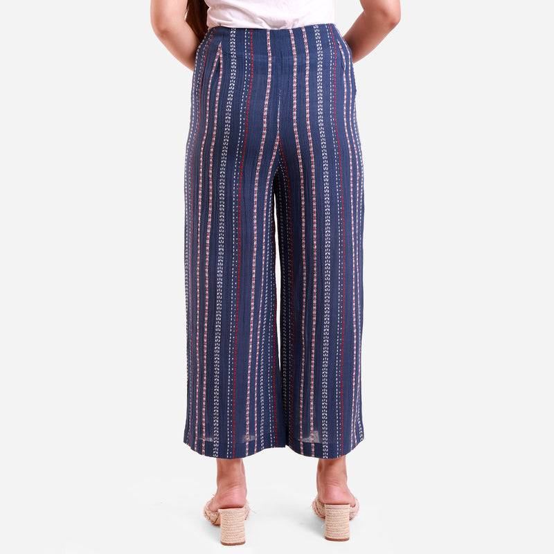 Back View of a Model wearing Navy Blue Crinkled Cotton Striped Culottes