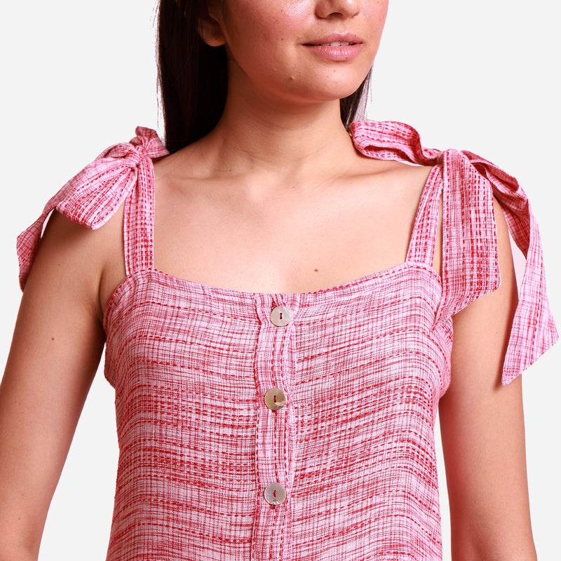 Front Detail of a Model wearing Red Crinkled Cotton Camisole Dress