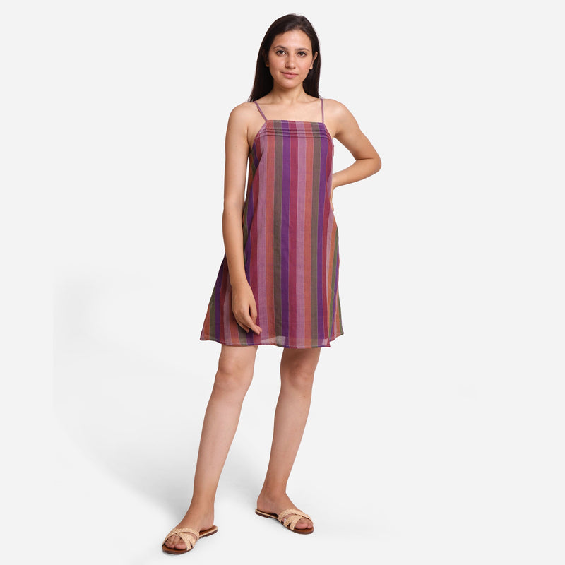 Front View of a Model wearing Strappy Handspun A-Line Striped Dress