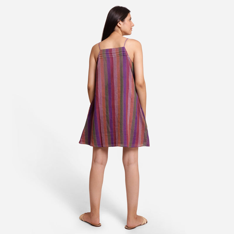 Back View of a Model wearing Strappy Handspun A-Line Striped Dress