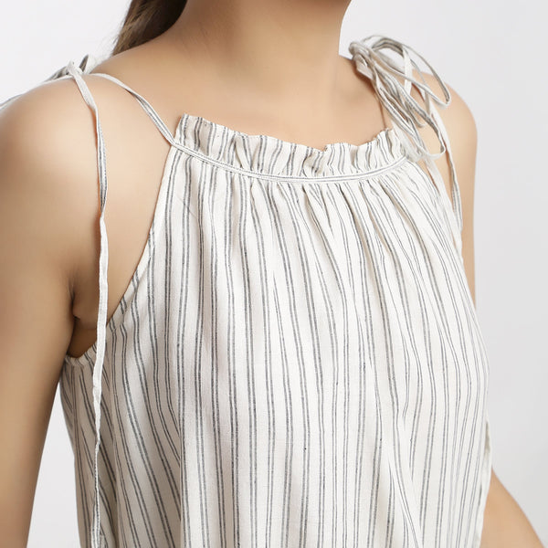 Front Detail of a Model wearing Strappy Handspun Camisole Maxi Dress