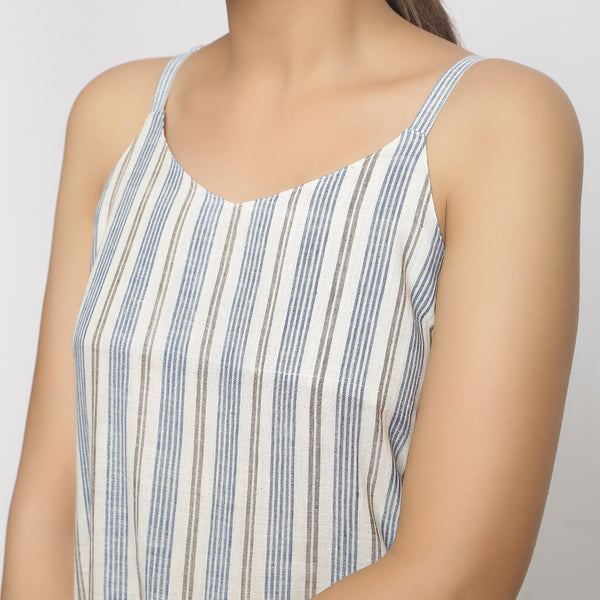 Front Detail of a Model wearing Strappy Handspun Striped Shift Dress