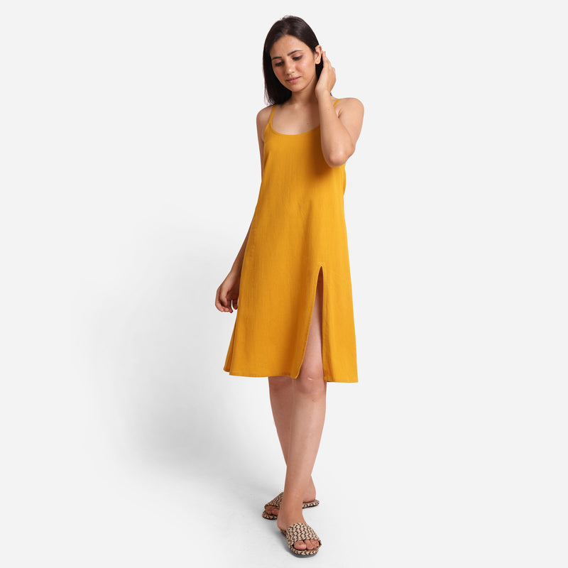 Front View of a Model wearing Mustard Cotton Flax Strappy Slit Dress