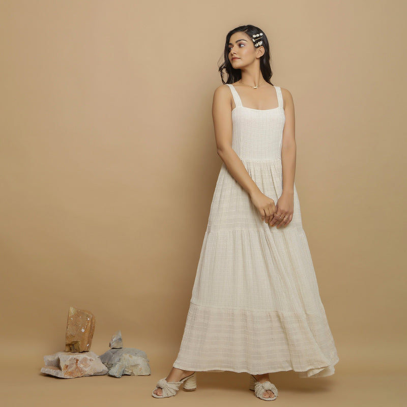Front View of a Model wearing Strappy Undyed Cotton Flax Maxi Dress