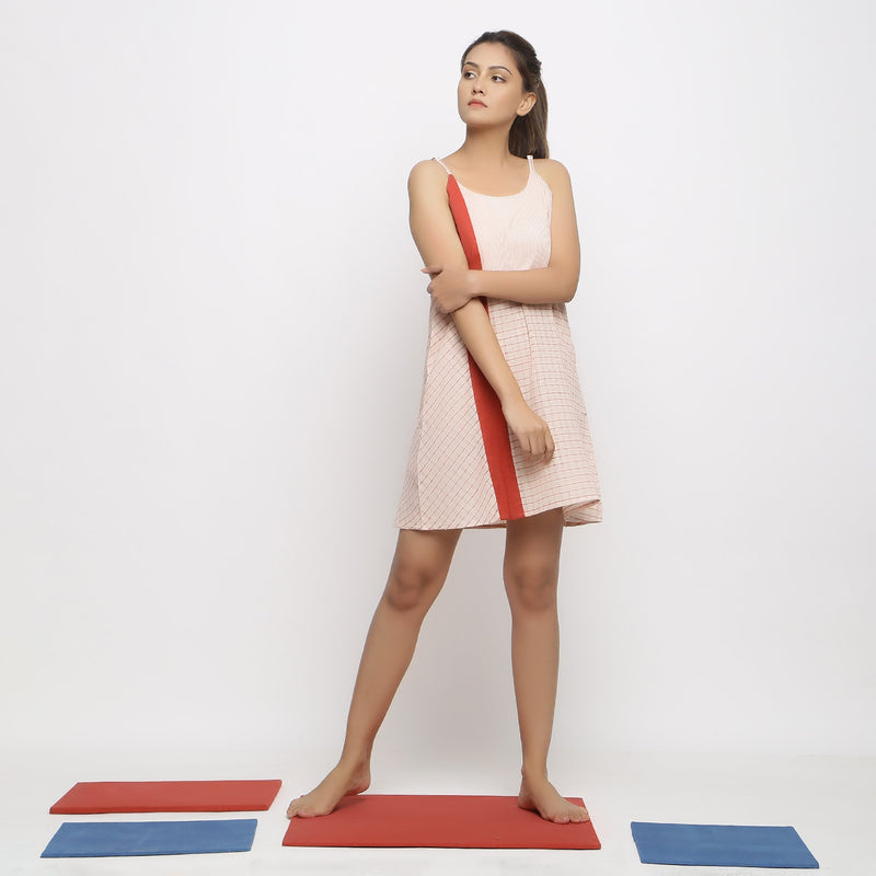 Front View of a Model wearing Strappy Vegetable Dyed Paneled Dress