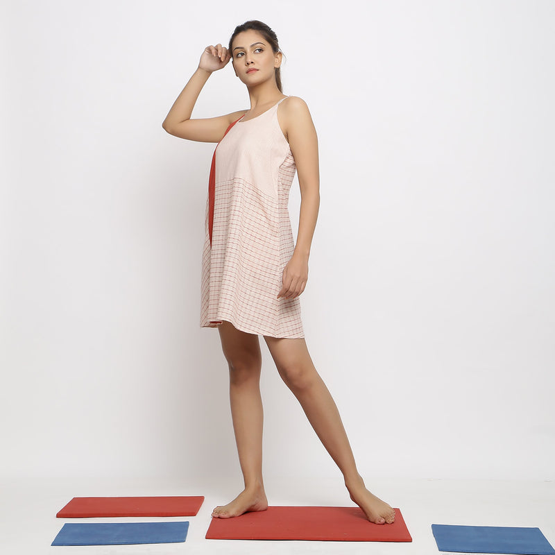 Left View of a Model wearing Strappy Vegetable Dyed Paneled Dress