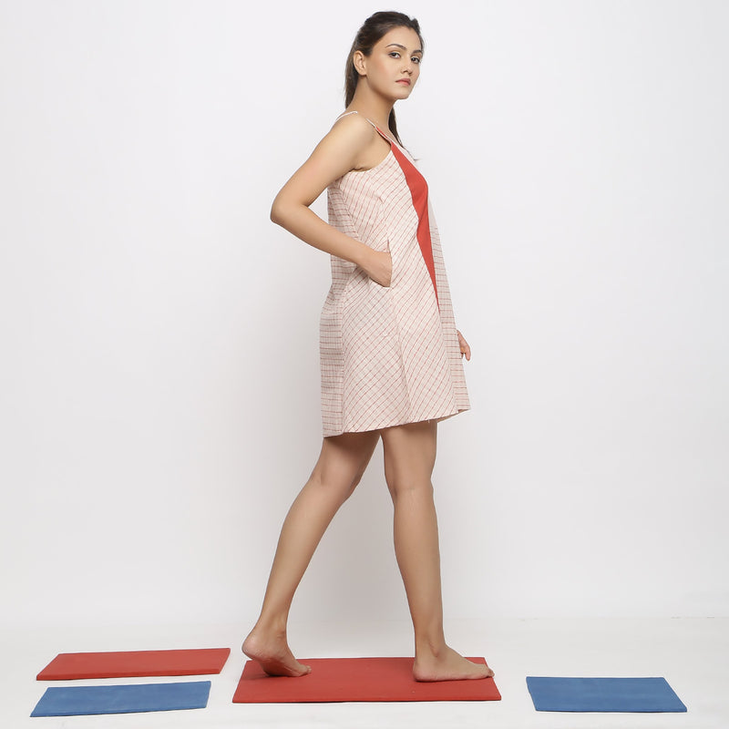 Right View of a Model wearing Strappy Vegetable Dyed Paneled Dress