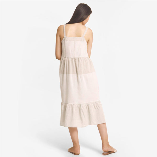 Back View of a Model wearing Strappy Yarn Dyed Cotton Gathered Tier Dress