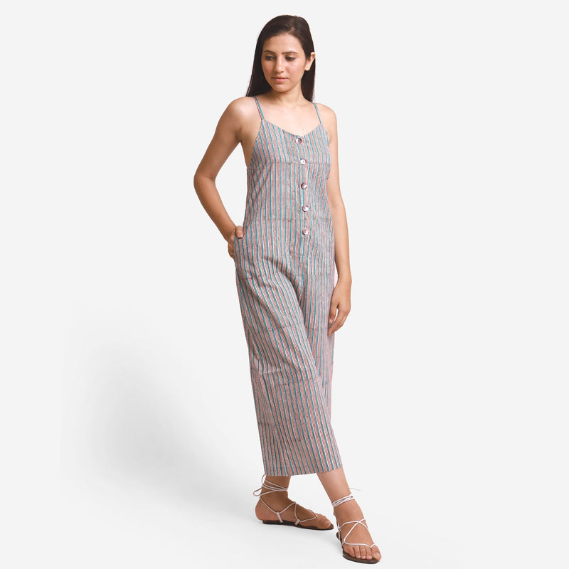 Front View of a Model wearing Striped Camisole Wide Legged Jumpsuit