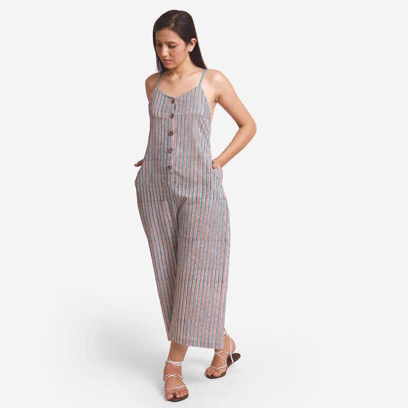 Left View of a Model wearing Striped Camisole Wide Legged Jumpsuit