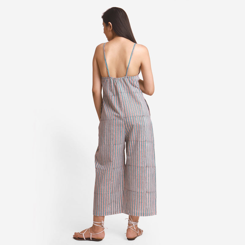 Back View of a Model wearing Striped Camisole Wide Legged Jumpsuit