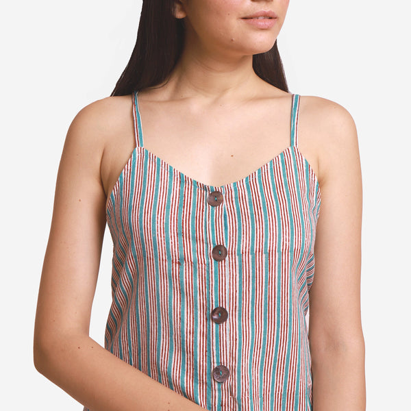 Front Detail of a Model wearing Striped Camisole Wide-Legged Jumpsuit