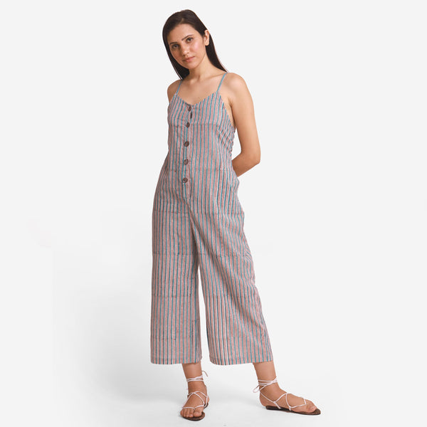 Front View of a Model wearing Striped Camisole Wide-Legged Jumpsuit