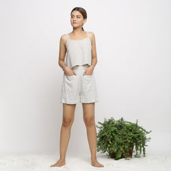 Front View of a Model wearing Handspun Striped Top and Paneled Shorts Set