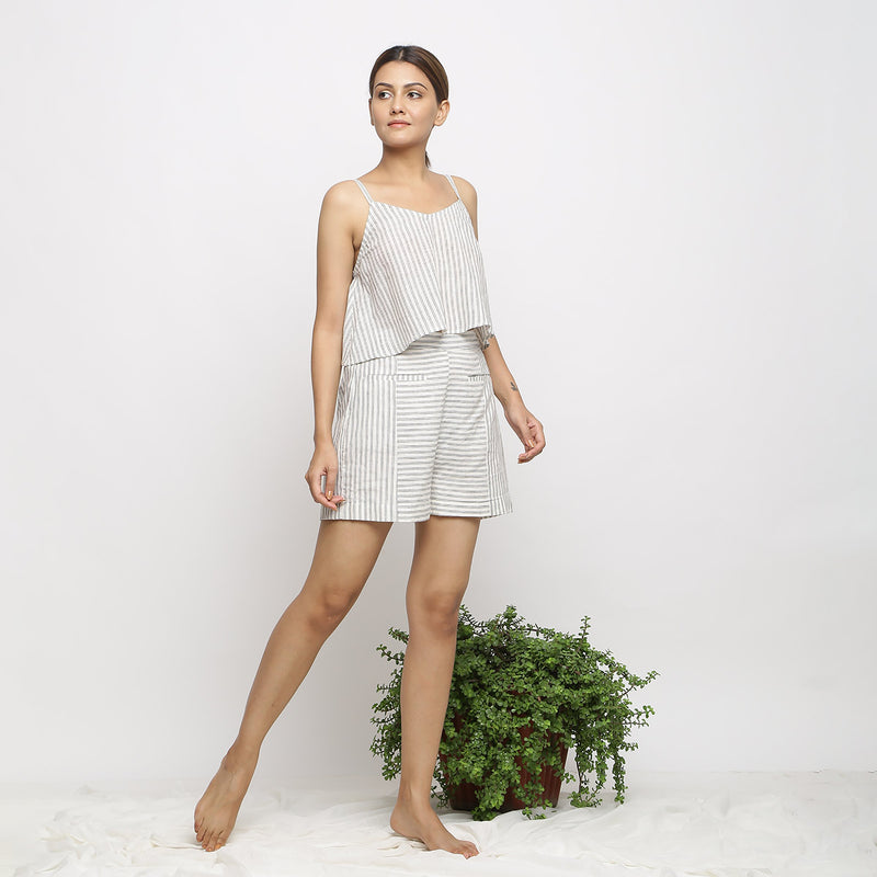Right View of a Model wearing Handspun Striped Top and Paneled Shorts Set