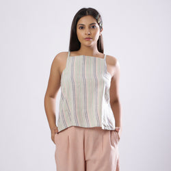 Front View of a Model wearing Striped Handspun Cotton Paneled Top