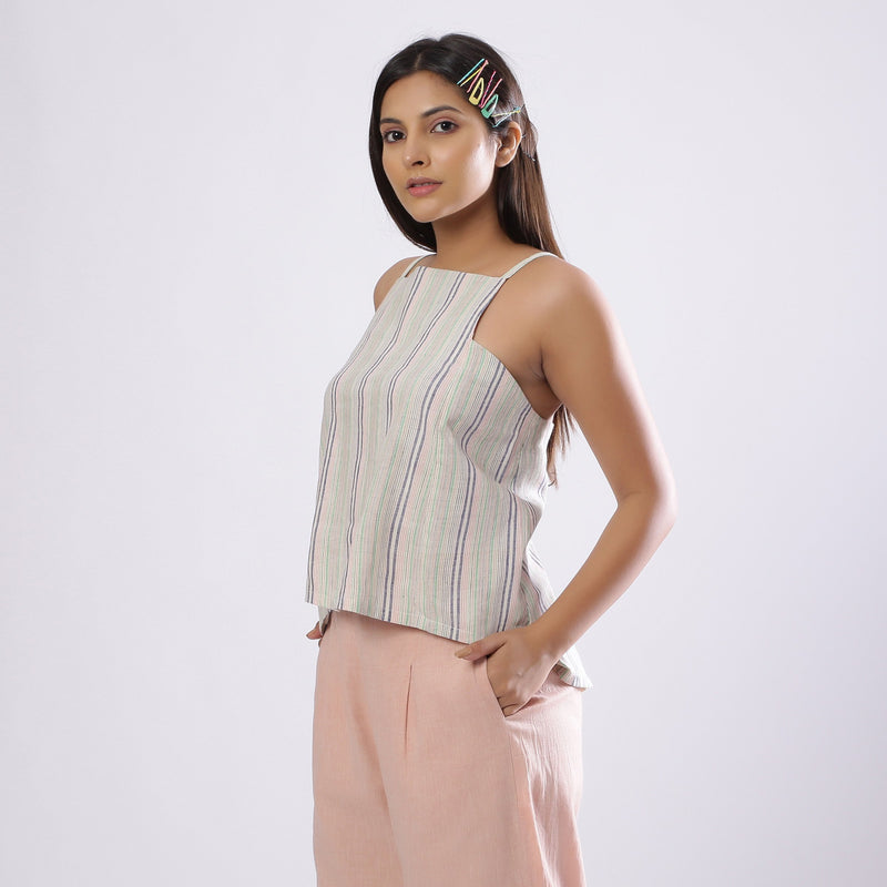 Left View of a Model wearing Striped Handspun Cotton Paneled Top