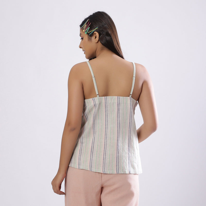 Back View of a Model wearing Striped Handspun Cotton Paneled Top