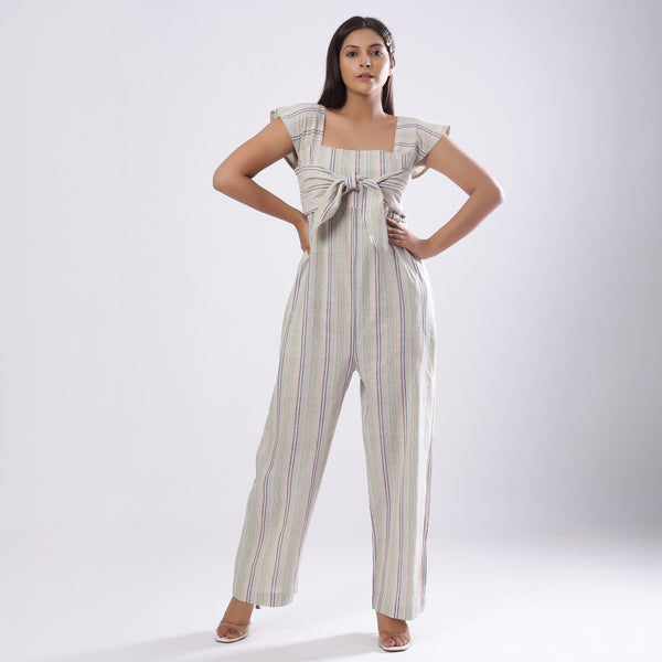 Front View of a Model wearing Striped Handspun Cotton Straight Jumpsuit