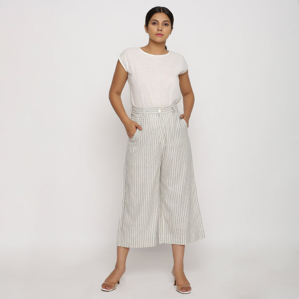 Front View of a Model wearing Striped Handspun Wide-Legged Culottes
