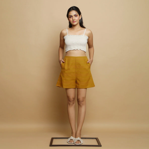 Front View of a Model wearing Striped Handwoven Flared Godet Shorts