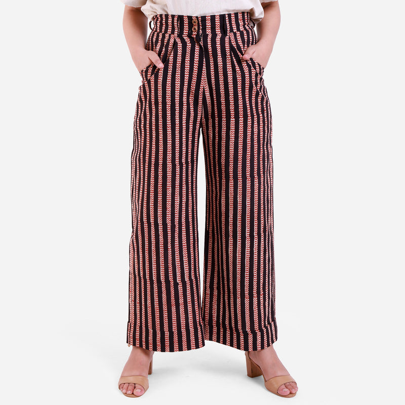 Front View of a Model wearing Striped High-Rise Baggy Cotton Pant